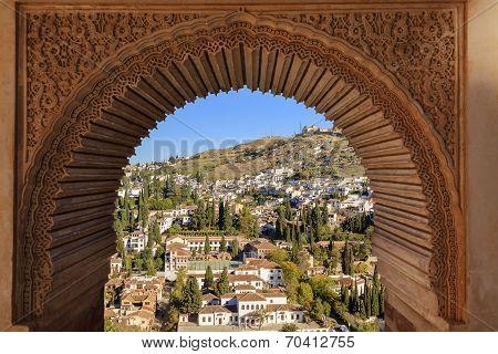 Alhambra Arch Granada Cityscape Andalusia Spain