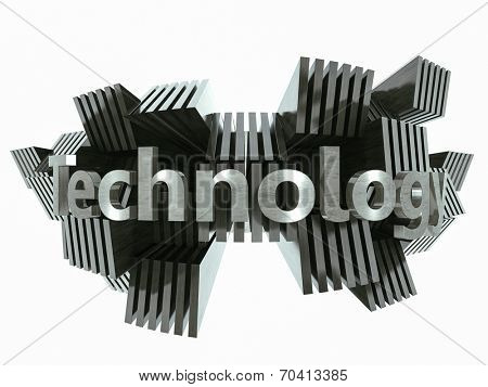 Silver metal technology sign abstract 3d illustration
