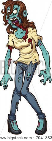 Zombie woman screaming. Vector clip art illustration with simple gradients. All in a single layer.