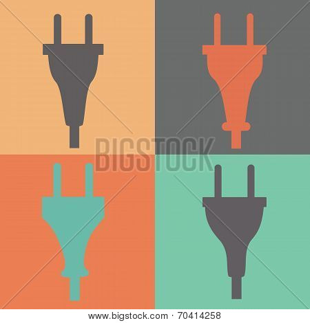 Set of electric plug sign icon. Power energy symbol. Flat style.