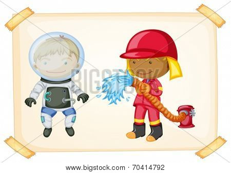 Illustration of an astronaut and a firefighter
