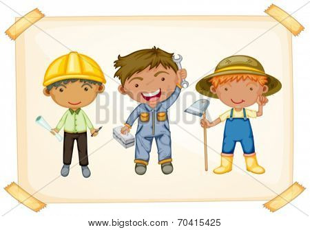 Illustration of workers and farmer