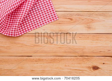 Pure notebook for recording menu, recipe on red checkered tablecloth tartan.