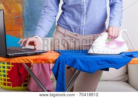 Elegant Woman During Ironing