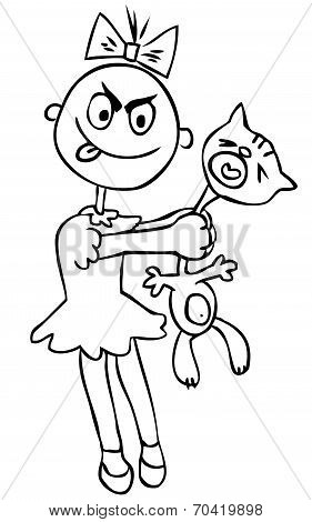 Vector Illustration. Children's Cruelty. Girl Torturing A Cat. Humor