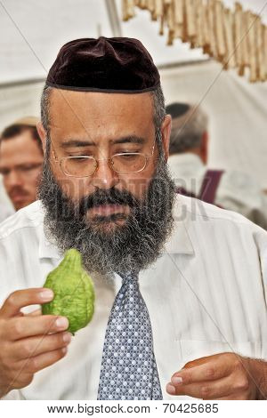 JERUSALEM, ISRAEL - SEPTEMBER 18, 2013: Traditional market before the holiday of Sukkot. Religious man - Jew with black beard and black skullcap chooses ritual citrus - etrog