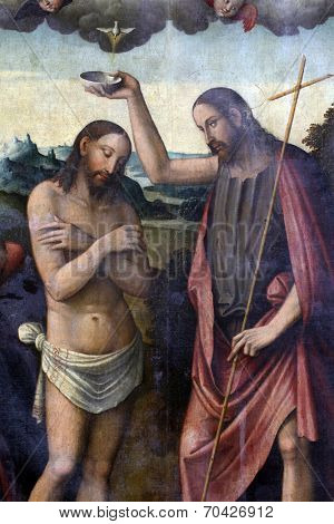ZAGREB, CROATIA - DECEMBER 12: Bartolomeo Coda: Baptism of Christ, exhibited at the Great Masters renesnse in Croatia, opened December 12, 2011. in Zagreb, Croatia