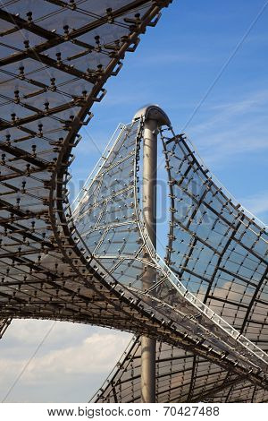 Munich, Germany - September 5, 2010: Detail of the pavillon-roof construction at the Olympic Stadium at Munich built by architect Frei Otto for the Olympic games 1972.