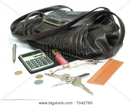 bag with typical woman things