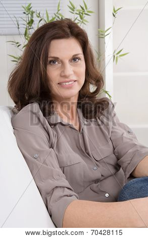 Attractive Middle Aged Woman In Portrait.