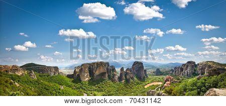 Beautiful panoramic view on Meteora in Trikala, Greece.