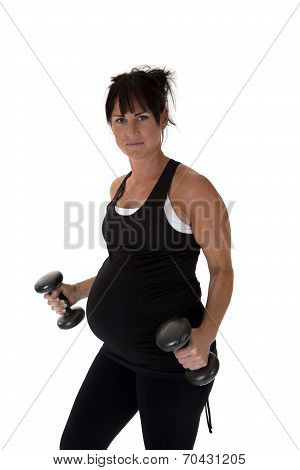 Pregnant Fitness Instructor Lifting Weights Happy During Workouts