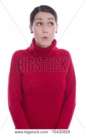 Amazed Looking Young Woman In Red Pullover - Isolated Over White.