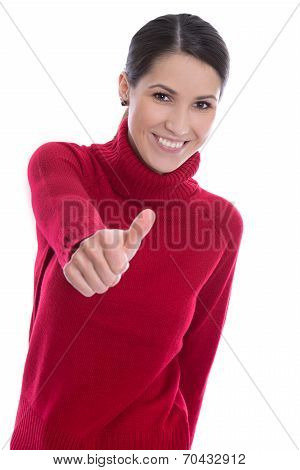 Successful Smiling And Isolated Young Woman In Red Pullover.