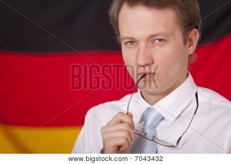 Politician Over German Flag