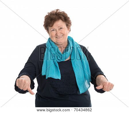 Funny Isolated Older Lady In Blue Making Thumbs Down Gesture.