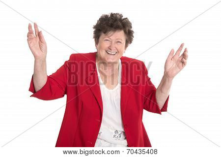 Isolated Portrait: Happy And Cheering Older Lady In Red Jacket.