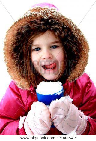 Girl Holding Snowcone