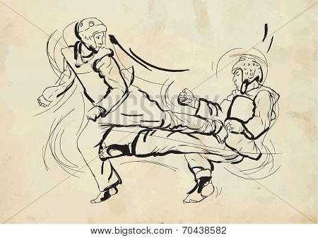 Taekwon-do. Hand Drawn (calligraphic And Grunge) Vector