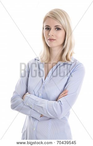 Portrait Of A Blond Isolated Young Business Woman In Blue Blouse.
