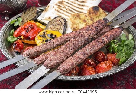 kebab-e-kubideh with grilled vegetables