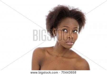 Isolated Beautiful And Amazed Young Afro American Woman Face.