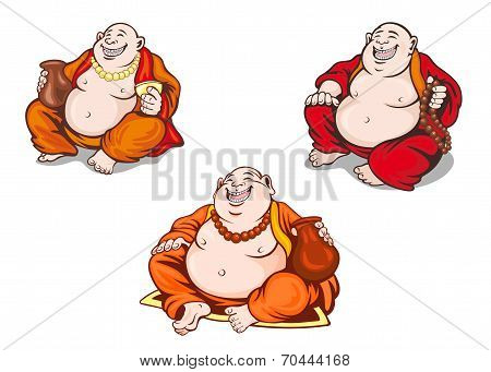 Asian Monks Set In Cartoon Style