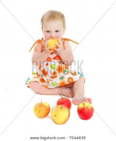 Cute Baby Girl With Apples Over White