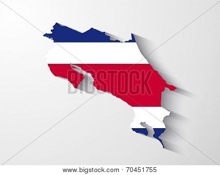 Costa Rica Map With Shadow Effect