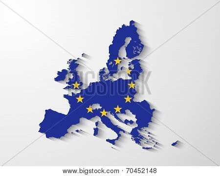 European Union Map With Shadow Effect