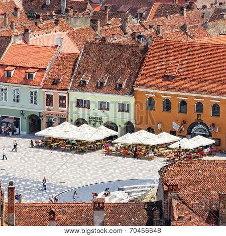 Brasov, Romania - July 15: Council Square On July 15, 2014 In Brasov, Romania. Aerial View Of Old To