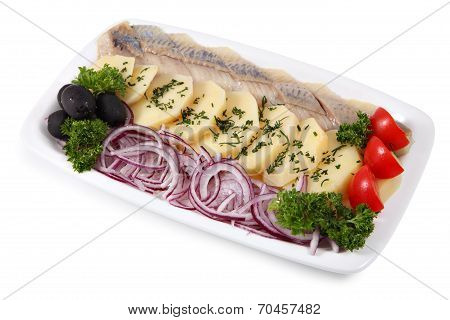 Plate With Slices Of Pickled Herring, Onion, And Boiled Potatoes.