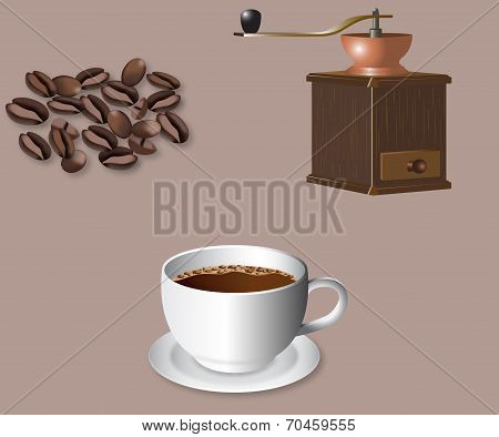 Coffee beans, grinder and cup of coffee