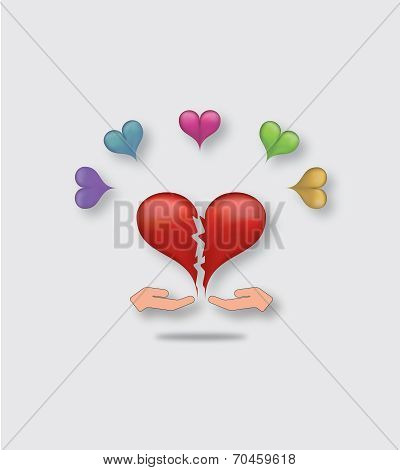 Two hands giving each other pieces of broken heart as a symbol of reconciliation