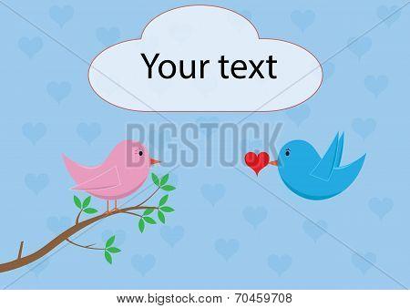 Love birds - bringing love/heart