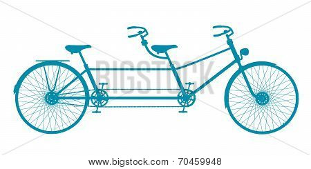 Retro tandem bicycle in blue design