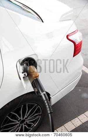 Refueling Car On Gas Station.