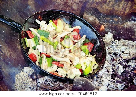 Grilled Vegetables Inside Of A Grill Pan