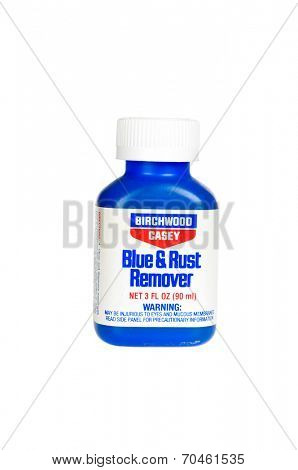Hayward, CA - August 7, 2014:3 fl oz  bottle of Birchwood Casey blue & rust remover