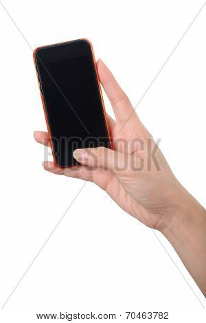 Blank Screen Mobile Phone In Hand