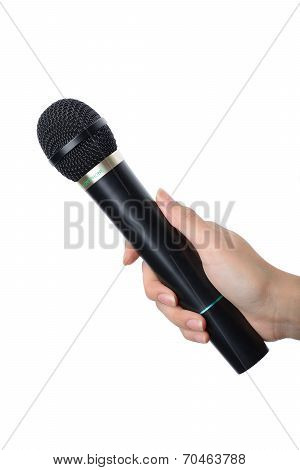 Hand With Black Microphone Isolated On White Background