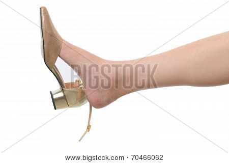 Beautiful Female Leg With Gold Shoe