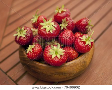 Fresh Strawberries In Wood Bowl