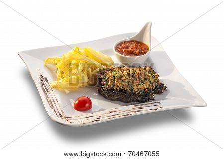 Rustic Grilled Beefsteak With French Fries And Spicy Sauce