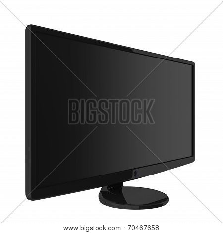 Black Shiny LCD Monitor With A Matte Screen