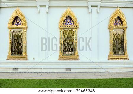 Gold Buddhist Monastery Window