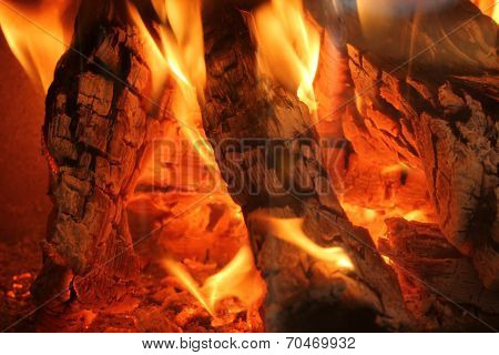 Burning Logs In A Chimney Fire