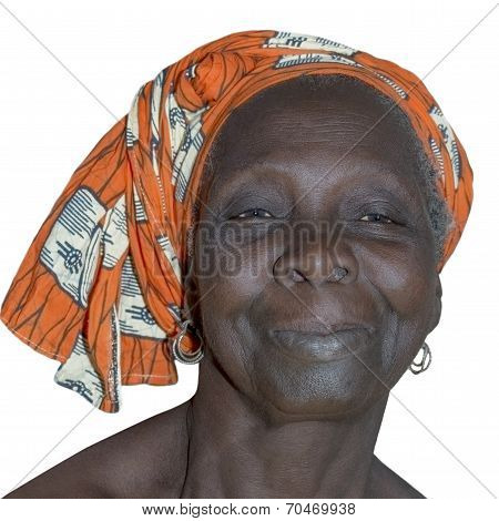 Portrait of an old lady wearing a traditional headdress, isolated