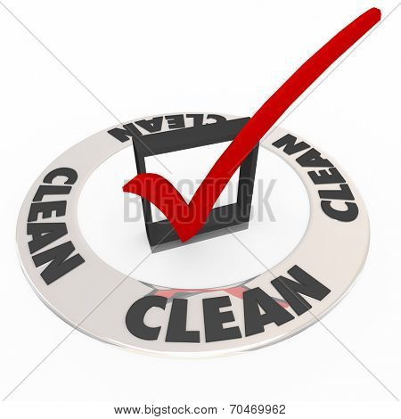 Clean word on a ring around a check mark or box as certification, verification or approval seal from an inspection or review