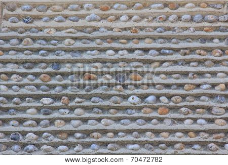 Wall With Embedded Pebble Stones